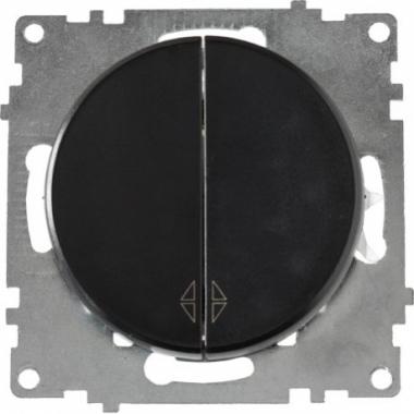 Переключатель двухклавишный OneKeyElectro серии Florence. Цвет черный