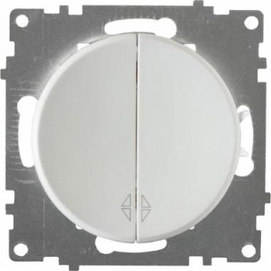 Переключатель двухклавишный OneKeyElectro серии Florence. Цвет белый