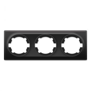 Рамка тройная OneKeyElectro серии Florence. Цвет черный