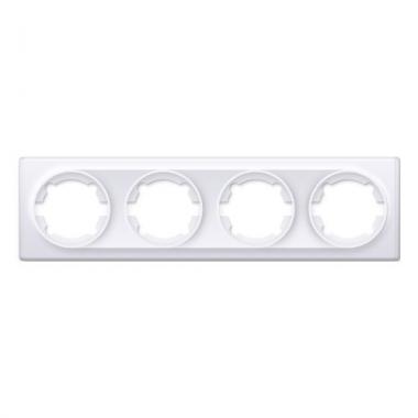 Рамка на четыре изделия OneKeyElectro серии Florence. Цвет белый