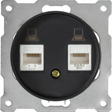 Розетка компьютерная двойная 2xRJ45 OneKeyElectro серии Florence. Цвет черный