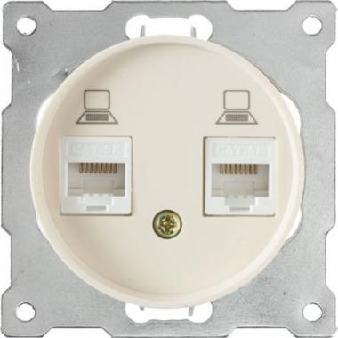 Розетка компьютерная двойная 2xRJ45 OneKeyElectro серии Florence. Цвет бежевый