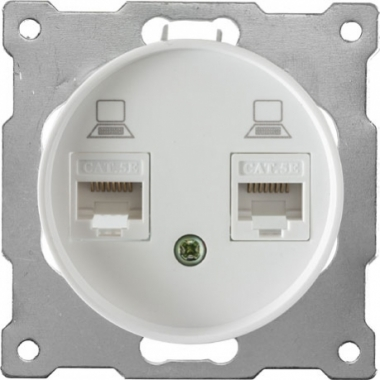 Розетка компьютерная двойная 2xRJ45 OneKeyElectro серии Florence. Цвет белый