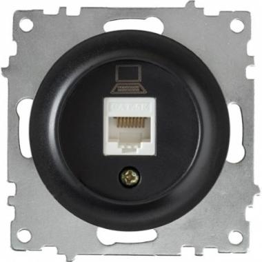 Розетка компьютерная RJ45 OneKeyElectro серии Florence. Цвет черный