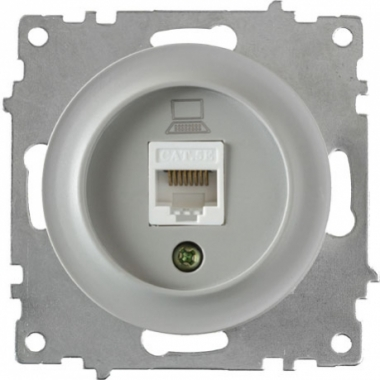 Розетка компьютерная RJ45 OneKeyElectro серии Florence. Цвет серый