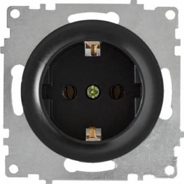 Розетка с заземлением OneKeyElectro серии Florence. Цвет черный