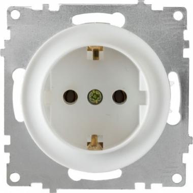 Розетка с заземлением OneKeyElectro серии Florence. Цвет белый