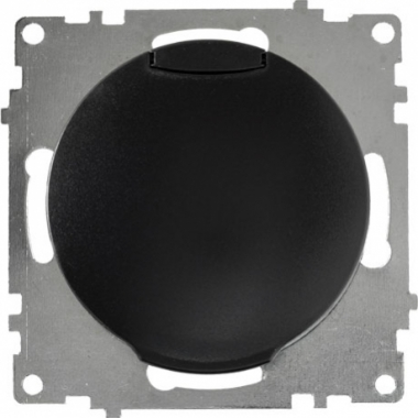 Розетка с заземлением и защитной крышкой OneKeyElectro серии Florence. Цвет черный