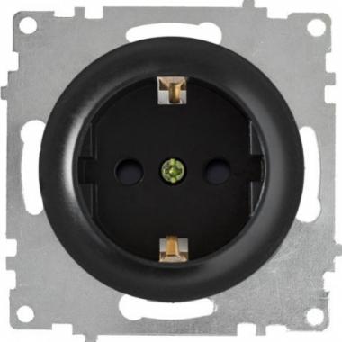 Розетка с заземлением и шторками OneKeyElectro серии Florence. Цвет черный