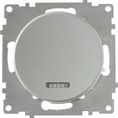 Выключатель одноклавишный с подсветкой OneKeyElectro серии Florence. Цвет серый