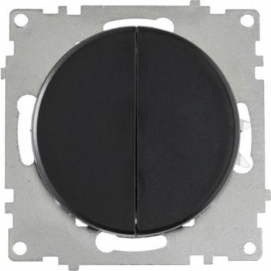 Выключатель двухклавишный OneKeyElectro серии Florence. Цвет черный