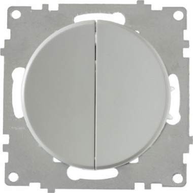 Выключатель двухклавишный OneKeyElectro серии Florence. Цвет серый