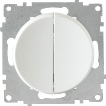 Выключатель двухклавишный OKE Florence. Цвет белый