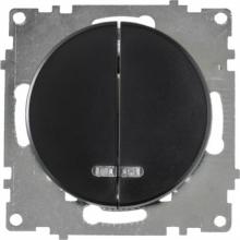 Выключатель двухклавишный с подсветкой OKE Florence. Цвет черный