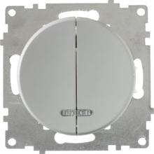 Выключатель двухклавишный с подсветкой OKE Florence. Цвет серый