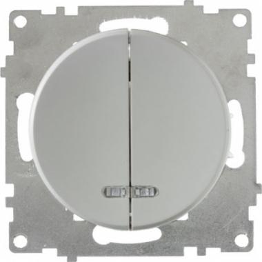 Выключатель двухклавишный с подсветкой OneKeyElectro серии Florence. Цвет серый