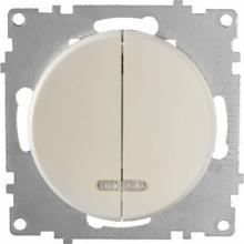 Выключатель двухклавишный с подсветкой OKE Florence. Цвет бежевый