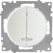 Выключатель двухклавишный с подсветкой OKE Florence. Цвет белый
