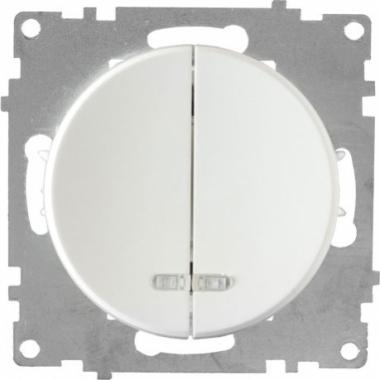 Выключатель двухклавишный с подсветкой OneKeyElectro серии Florence. Цвет белый
