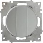 Выключатель трехклавишный OKE Florence. Цвет серый