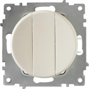 Выключатель трехклавишный OneKeyElectro серии Florence. Цвет бежевый
