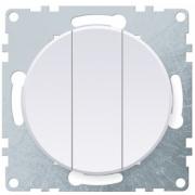 Выключатель трехклавишный OKE Florence. Цвет белый