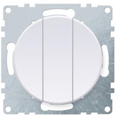 Выключатель трехклавишный OneKeyElectro серии Florence. Цвет белый