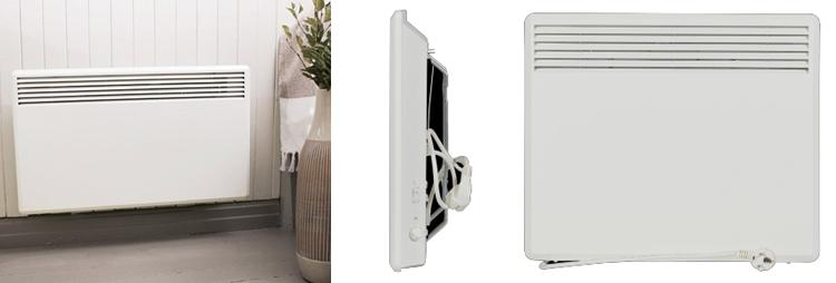 конвектор Nordic C4E внешний вид: лицевая панель, термостат, задняя панель с кронштейном