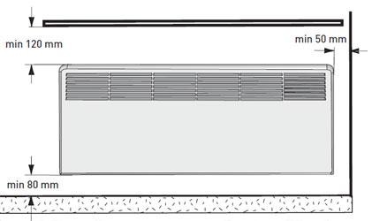 Минимальные расстояния при установке конвектора под подоконник