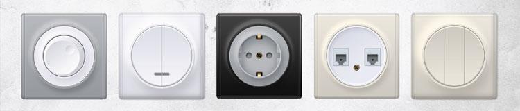выключатели, розетки, диммеры OneKeyElectro серии Florence